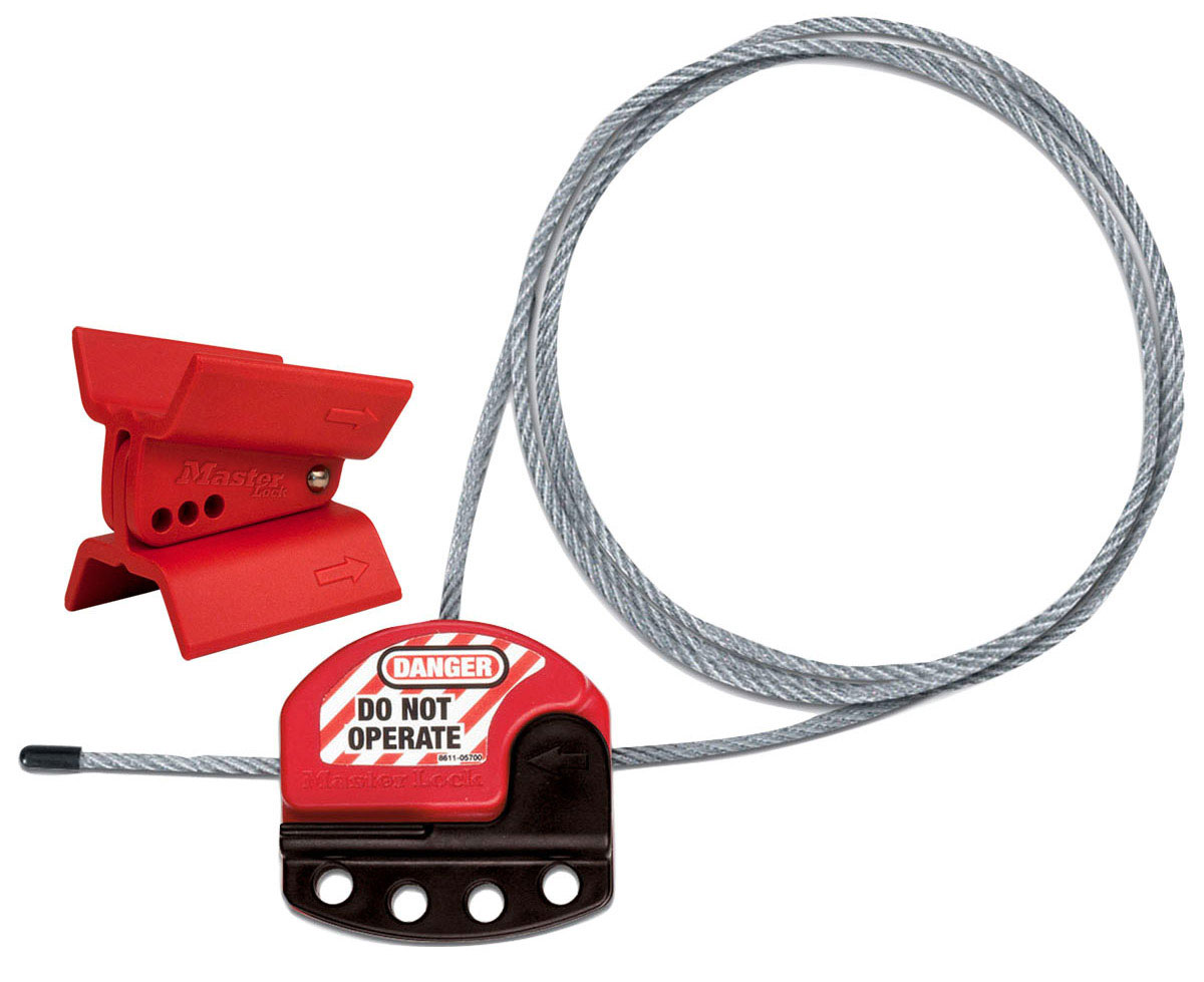 Dispositivo de bloqueio de válvula borboleta com bloqueio de cabo