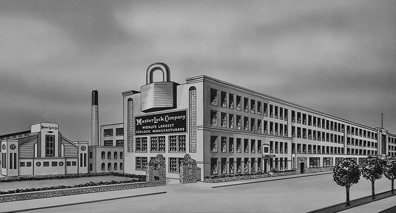 Drawing of Master Lock Building