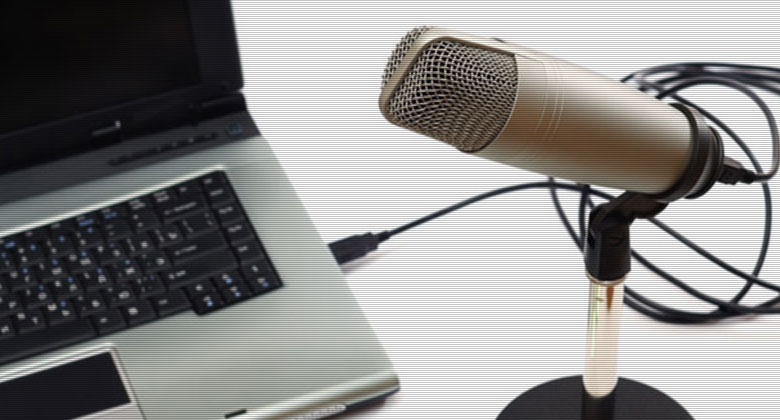 radio microphone and computer