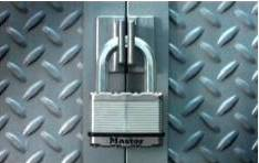 Keyed Padlocks: Padlock securing doors