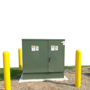 Contadores, subestações e caixas de cabos