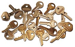 Assorted Master Lock Keys, cut and zero bitted
