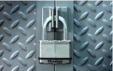 Keyed Padlocks: Padlock securing doors