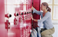 Locker Locks: Woman with open locker