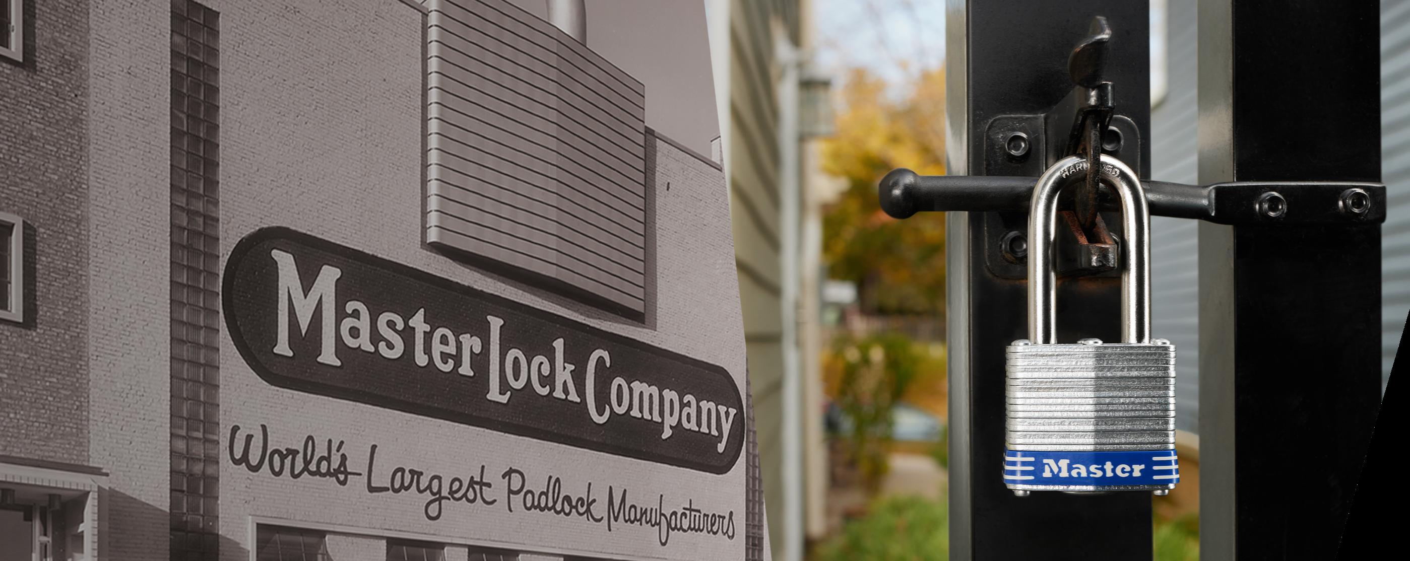 Edificio histórico de Master Lock con candado laminado en cerca