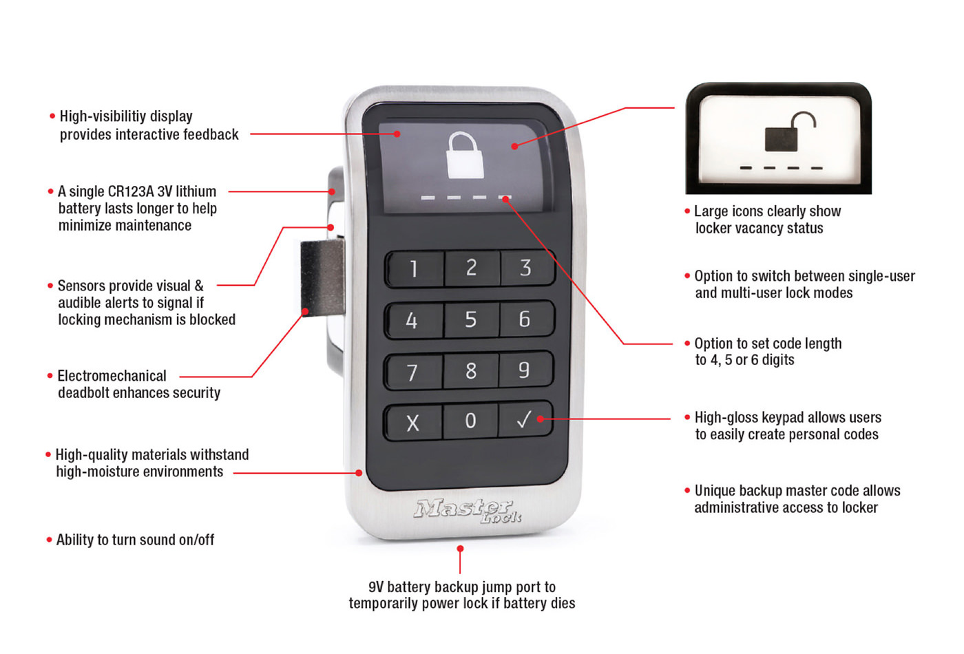 Electronic Locker Lock Features