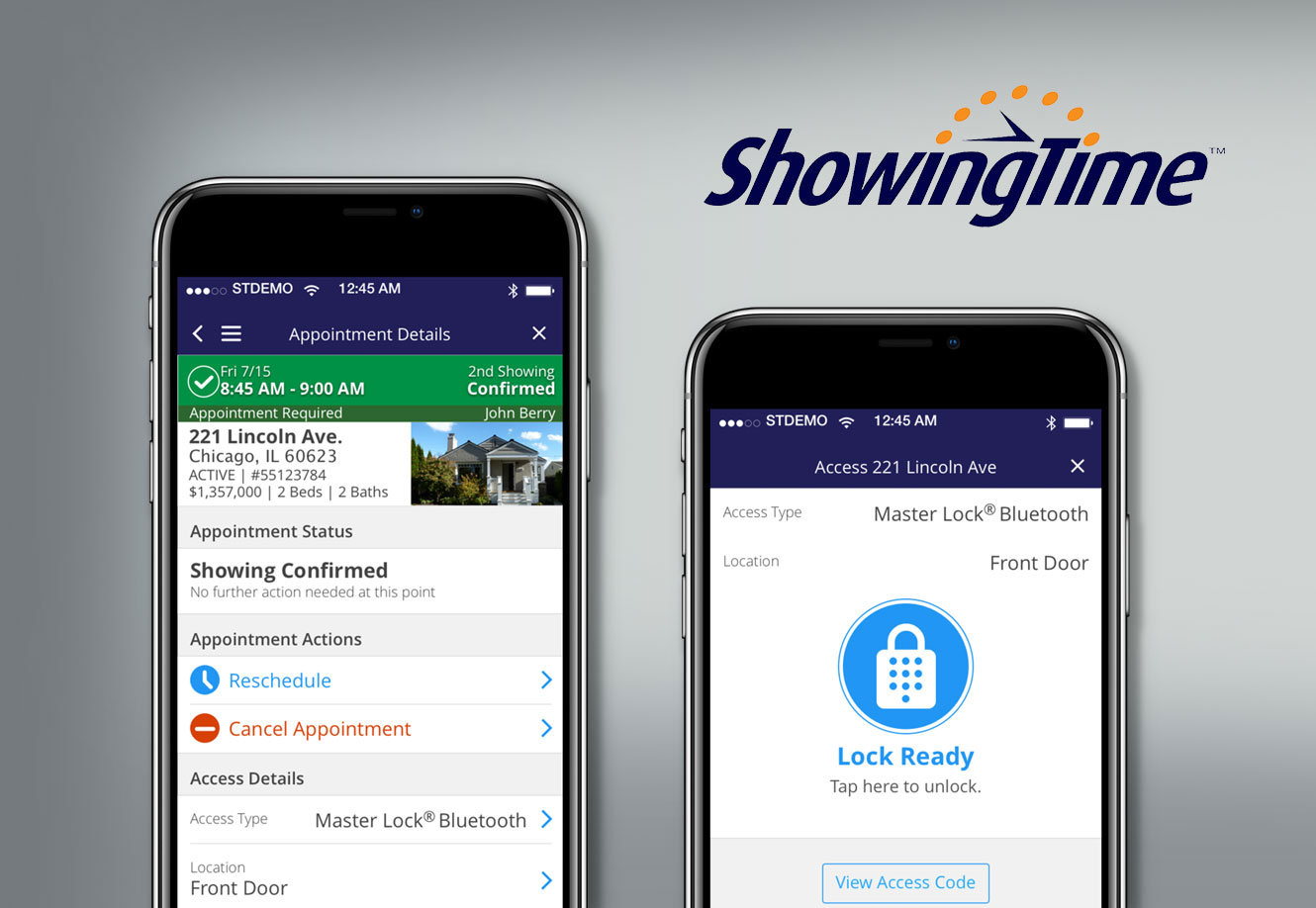 ShowingTime app screens