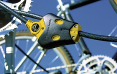 Cables & Bike Locks: Cable lock on bike