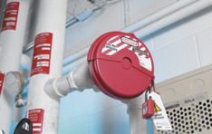 Safety Solutions: Valve covered with lockout and tagout