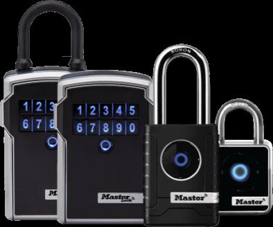 Master Lock Bluetooth Lock Boxes and Padlocks.