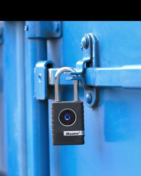 Master Lock bluetooth outdoor padlock on steel door.