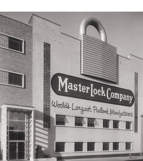 Master Lock building with large padlock.