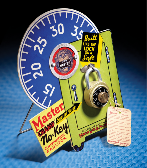 Master Lock first combination padlock showcased on front of locker.