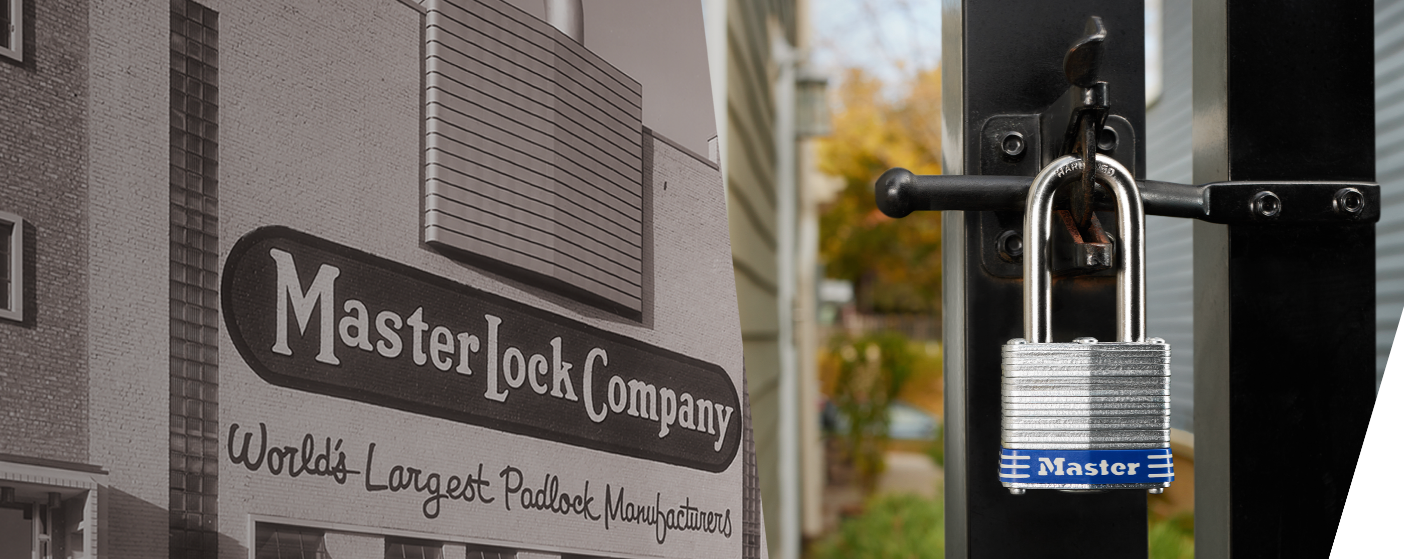 Master Lock historic building with laminated padlock on fence