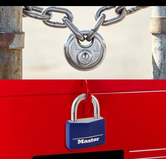 Master Lock blue padlock and key lock.