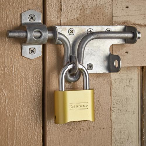 Master Lock resettable combination brass padlock.