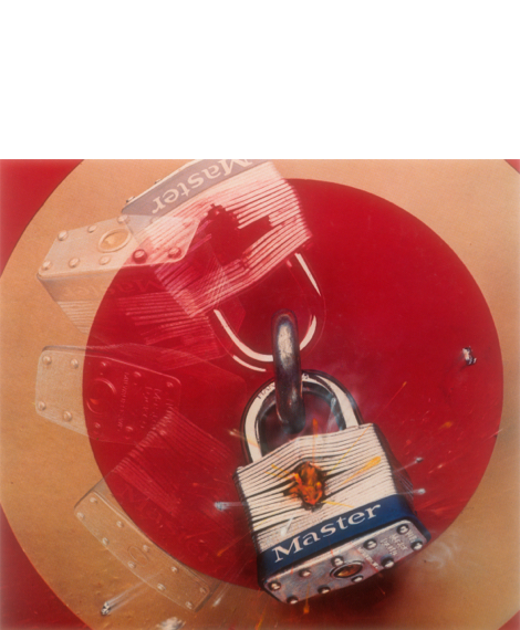 Master Lock shot lock padlock featured in the 1974 Super Bowl commercial.