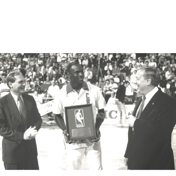 Michael Jordan being presented with the Master Lock/NBA Defensive Player of the Year Award, 1988.