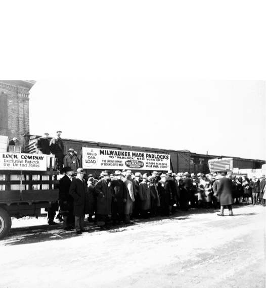 Train carrying Master Lock padlocks from Milwaukee to New York during prohibition.
