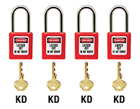 Four sets of padlocks and keys labeled 'KD'