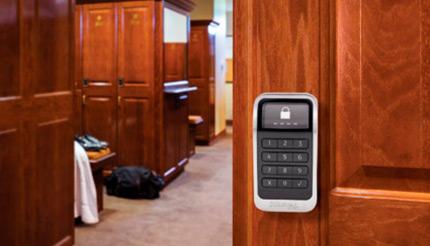 An electronic built-in lock in a locker room