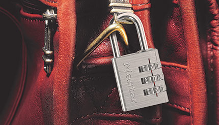A piece of luggage secured with a combination lock