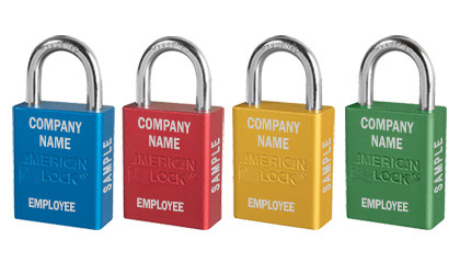 Four colors of padlocks with custom company name and employee name engraving