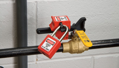 Lockout tagout in use