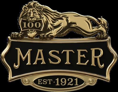 Logo con leone per la celebrazione dei 100 anni di Master Lock