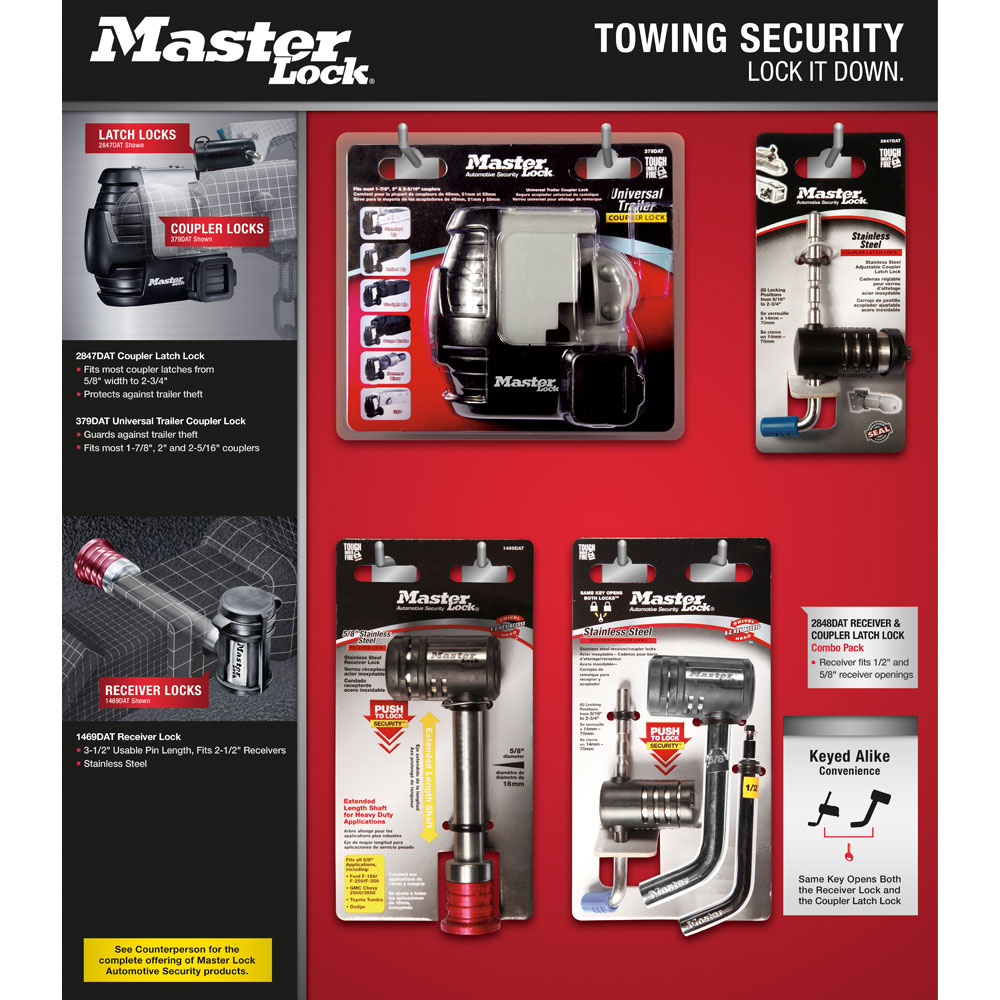 Master Lock 2848DAT Receiver Lock for 1//2 and 5//8 Receivers
