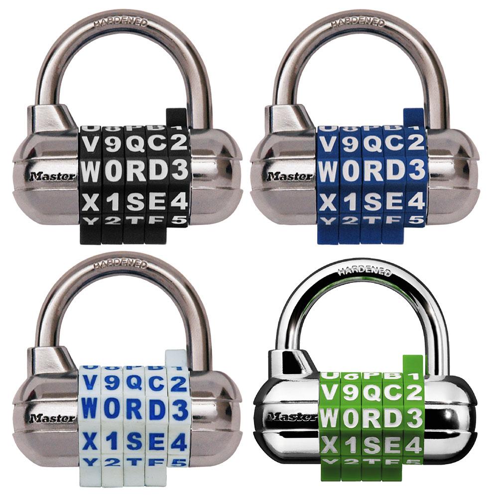 2 Pack Assorted Colors Master Lock 1535DWD Locker Lock Set Your Own Word Combination Padlock