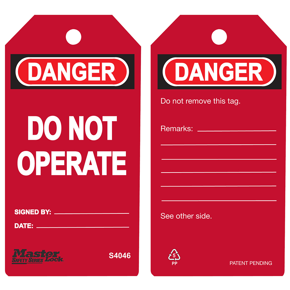 Model No S4046 Safety Tags Master Lock